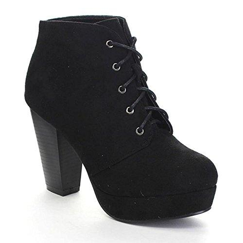 Forever Camille-86 Womens Comfort Stacked Chunky Heel Lace Up Ankle Booties, Black, 9