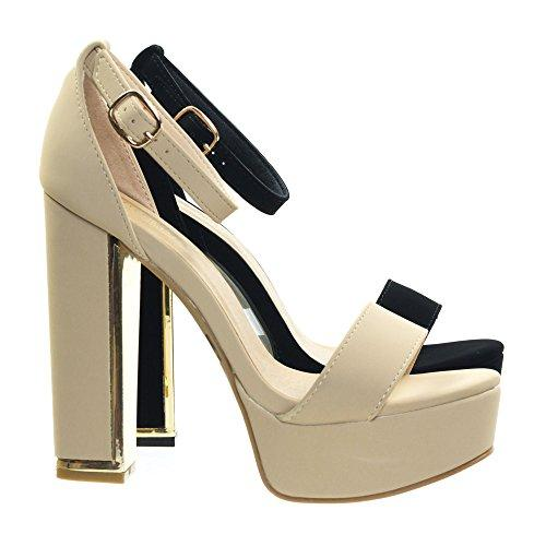Bamboo Metal Trim Plated Block Heel Platform Dress Sandal