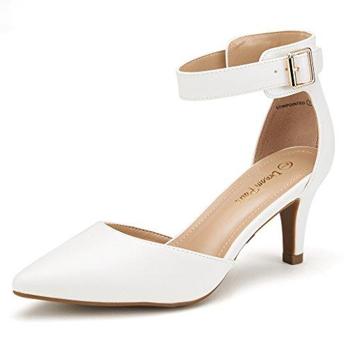 DREAM PAIRS Womens Lowpointed White Pu Low Heel Dress Pump Shoes - 10 M US
