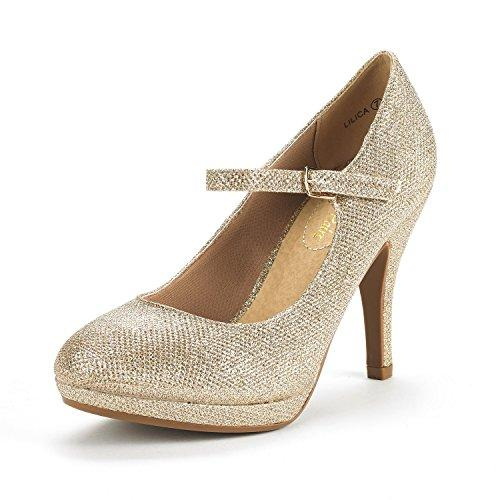 DREAM PAIRS Womens LILICA Gold Glitter Mary-Jane Close Toe Stilleto Platform Heel Pump Shoes - 10 M US