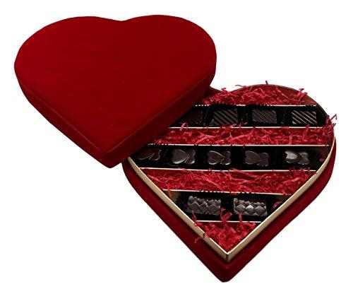 Excellence Chocolats Valentines Red Velvet Heart Box With 12 Dark Chocolate Pralines
