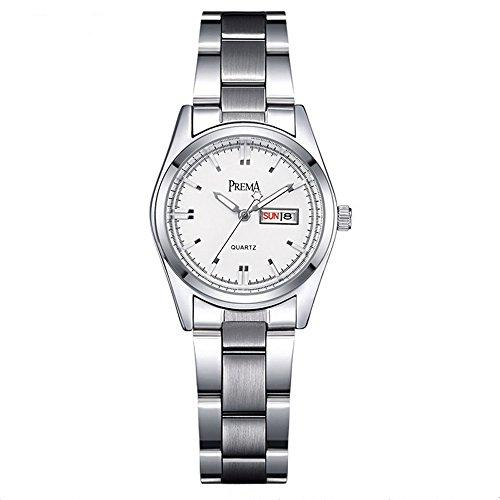 Smalody Fashion Women Watch Casual Date Day Clock Female Stainless Steel Ladies Watches Quartz Girls Wristwatches (White)