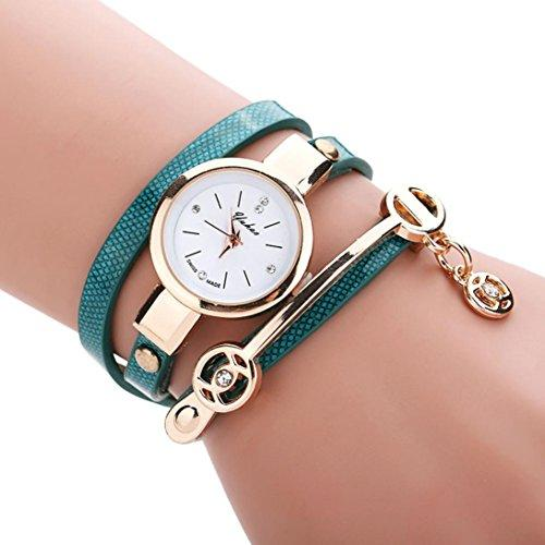 Han Shi Wrist Watch, Women Fashion Metal Strap Watch Band Diamante Bracelet Hand Chian (M, Green)
