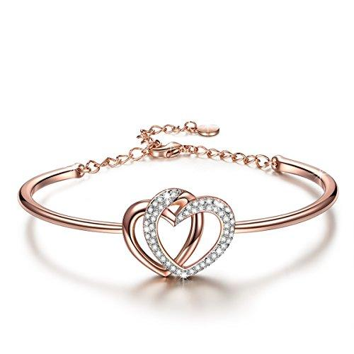 Valentines Day Gifts J.NINA Rose-Gold Plated Women Bangle Bracelet for women Made with Swarovski Crystals Jewelry Birthday Anniversary Gifts for Girlfriend Mom Daughter niece friends