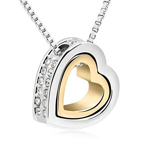 Xingzou 18K Gold,White Gold Plated Dual Heart Pendant Necklace with Swarovski Elements Clear Crystal