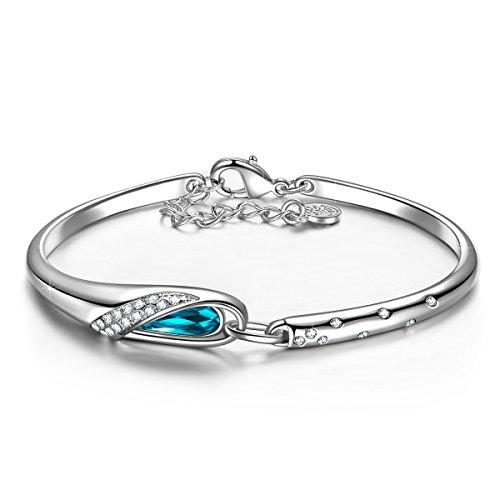 "QIANSE ""Glass Slipper"" 7"" Bangle Bracelet Blue Swarovski Crystals Jewelry for Women Valentines Day Gift for Her Birthday Anniversary Gifts for Her Bracelets for Teen Girls Daughter Sister Girlfriend"