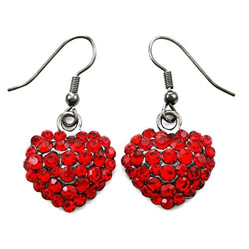 Valentines Day Red Heart Earrings Love Be Mine Dangle Hook Style Red Paved Rhinestone Fashion Jewelry
