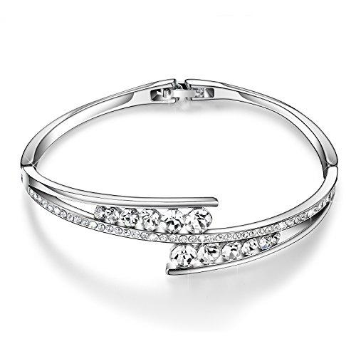 "Valentines Gifts Menton Ezil ""Love Encounter"" Women Silver Bracelet Swarovski Bangle Jewelry for Wedding Gifts Christmas"