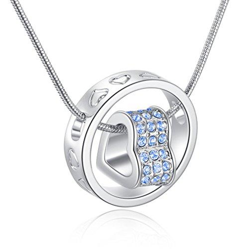 SOURBAN Womens Love Heart And Round Ring Pendant Necklace
