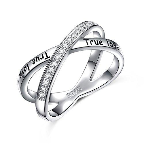 S925 Sterling Silver True Love Waits Infinity Criss Cross Rings for Women Lady (8)