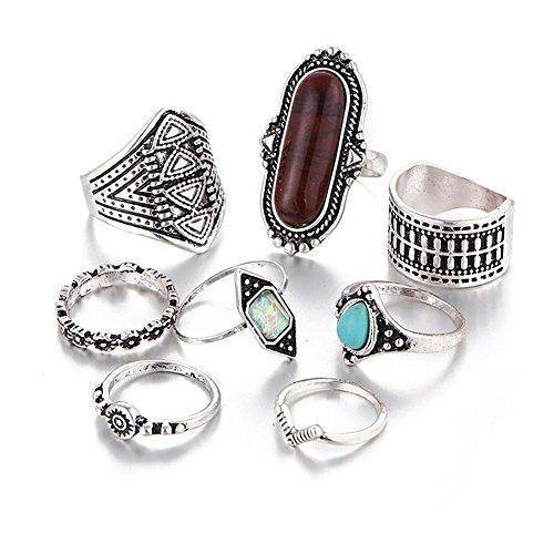 Hanloud Bohemian Knuckle Ring Set Vintage Finger Turquoise Stacking Rings