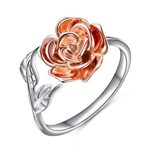 Rose Flower Ring for Women S925 Sterling Silver Adjustable Wrap Open Ring.