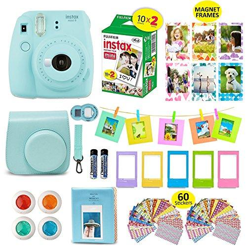 Fujifilm Instax Mini 9 ICE BLUE Camera + 20 Instant Film Twin Pack, + Instax Case + 14 PC Instax Accessories Bundle Kit. Includes; Albums, 4 Color Lenses, Selfie Lens, Frames + 60 Stickers by Shutter