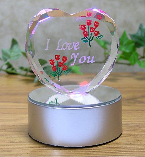 I Love You Gift - Etched Glass Heart on LED Base - LED Light up Heart - Valentines Day Decoration - Sweetheart, Wife, Husband, Boyfriend, Girlfriend