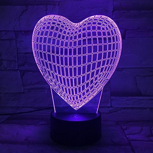 LE3D 3D Optical Illusion Desk Lamp/3D Optical Illusion Night Light, 7 Color LED 3D Lamp, Heart 3D LED For Kids and Adults, Heart Shape Light Up