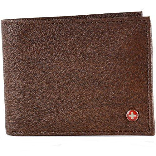 Alpine Swiss Mens Genuine Leather Wallet Slim Flip-out Bifold Antique Brown
