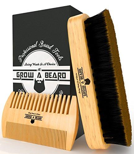 Beard Brush and Comb Set for Men - Friendly Gift Box And Cotton Bag - Best Bamboo Beard Kit for Home and Travel - Great for Dry or Wet Beards - Adds Shine and Softness