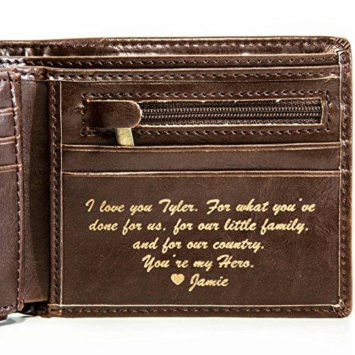 Personalized Mens Wallet - Leather Wallet, The Perfect Mens Gift, Boyfriend Gift, Fathers Day Gift or Groomsmen Gift - Personalized Gifts for Men: a Bifold wallet with ID sleeve and coin pocket