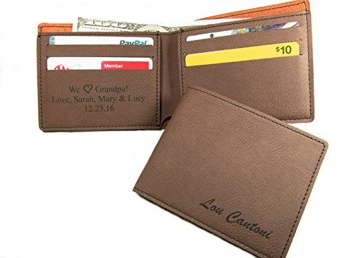 Personalized Bifold Mens Wallet Monogrammed Boyfriend Husband Dads Grandpa Anniversary Christmas Valentines Fathers Day Gift Brown
