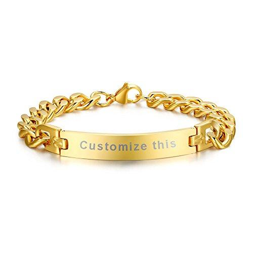 MG Personalized Custom Engraving Plain Stainless Steel ID Bracelets for Men Women,Gold Plated,8.3""