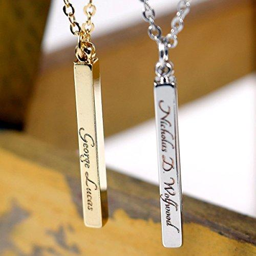 SAME DAY SHIPPING GIFT TIL 2PM CDT Mens Vertical id name Bar Custom Necklace Machine Engraving 16K Gold Silver Rose Gold Plated Personalized Necklace less then 20 Birthday Gift for men