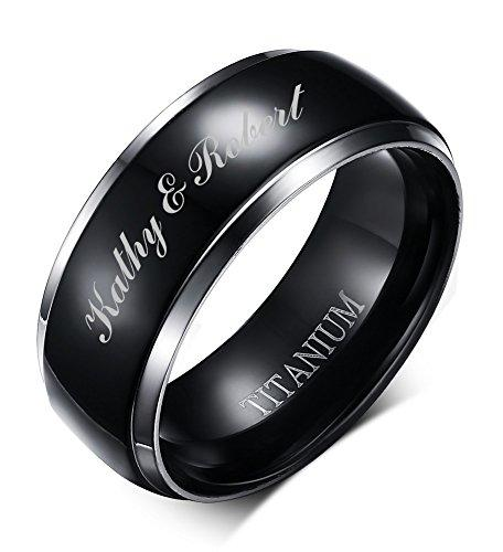 Free Engraving Personalized Two-tone Titanium Black Polished Wedding Engagment Ring Bands for Men, 8mm,size 9