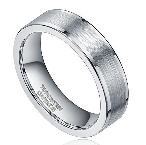 Free Personalized Engraving Silver Tungsten Carbide Ring for Men Women Wedding Band Size 10