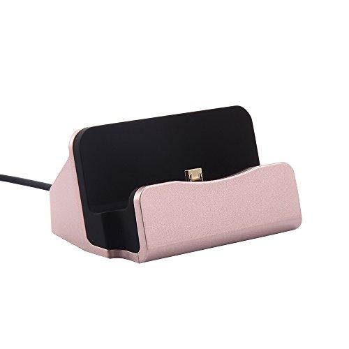 Charger Dock Designed for Samsung Galaxy - iProductsUS Micro USB Charging Dock with Cable, Charge and Sync for Samsung Galaxy S7/S6 Edge, S5, Note 5/4, HTC One, LG G2 and Other Smartphones(Rose Gold)