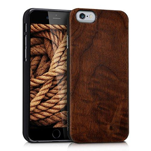 kwmobile Wooden case for Apple iPhone 6 / 6S Case - Handy Cover Protection case made of wood in walnut dark brown