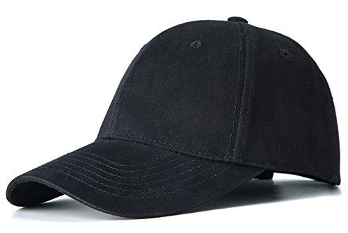 Edoneery Men Women 100% Cotton Adjustable Washed Twill Low Profile Plain Baseball Cap Hat(Black)