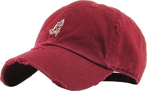 KBSV-061 BUR Praying Hands Vintage Rosary Distressed Dad Hat Baseball Cap Polo Style Adjustable