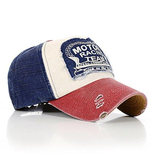 MuLuo Letter Fashion Vintage Caps Baseball Golf Cotton Adjustable Hat Wine Red Edge Blue Headpiece