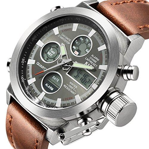 Tamlee Fashion Mens Digital Analog Sport Wrist Watch with PU Leather Strap EL Backlight (Silver)