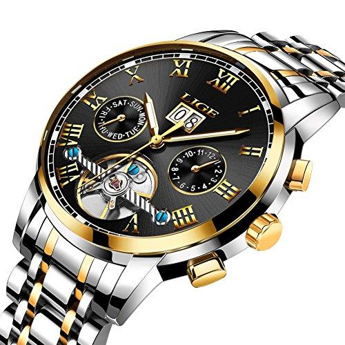 Mens Automatic Mechanical Wrist Watches Stainless Steel Dress Watch Fashion Business Casual Waterproof Clock Gold