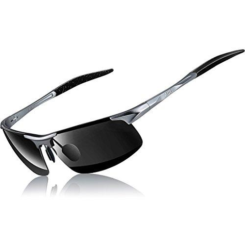 ATTCL Mens HOT Fashion Driving Polarized Sunglasses for Men Al-Mg Metal Frame Ultra Light A-Grey 8177