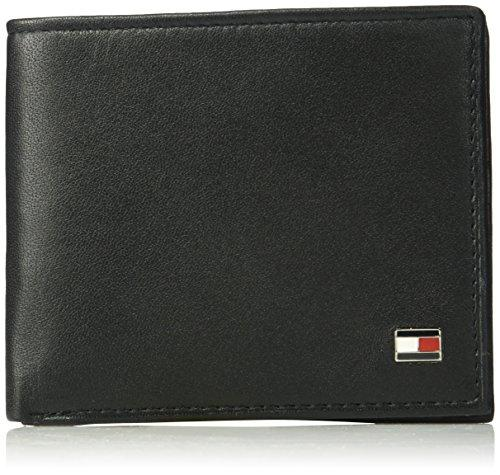 Tommy Hilfiger Mens RFID Blocking 100% Leather Oxford Id Billfold Wallet, black, One Size