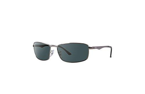 Ray-Ban 0RB3498 004/71 Rectangular Sunglasses,Gunmetal Frame/Green Lens,61 mm