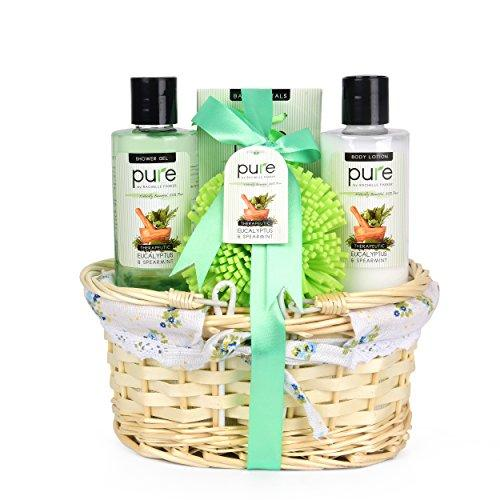 Mens Gift Set - Gift Baskets for Him! Eucalyptus & Spearmint Essential Oils Wicker Gift Basket. #1 Birthday Gifts for Men! Get Well Gift, Sympathy Gift Gift Baskets for Men & Women!