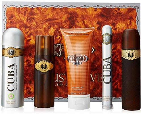 Cuba Gold for Men Gift Set (Eau de Toilette Spray 3.3 Ounce, Eau de Toilette Spray 1.17 Ounce, After Shave, Deodorant Spray, Shower Gel)