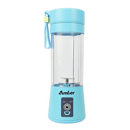 Amber 380ml Personal Blender, Portable Mixer, Protein Shaker Bottle, Blender for Baby Nutritional Food, Smoothies, Milk-Shake and Fruit Juice, Rechargeable, Blue