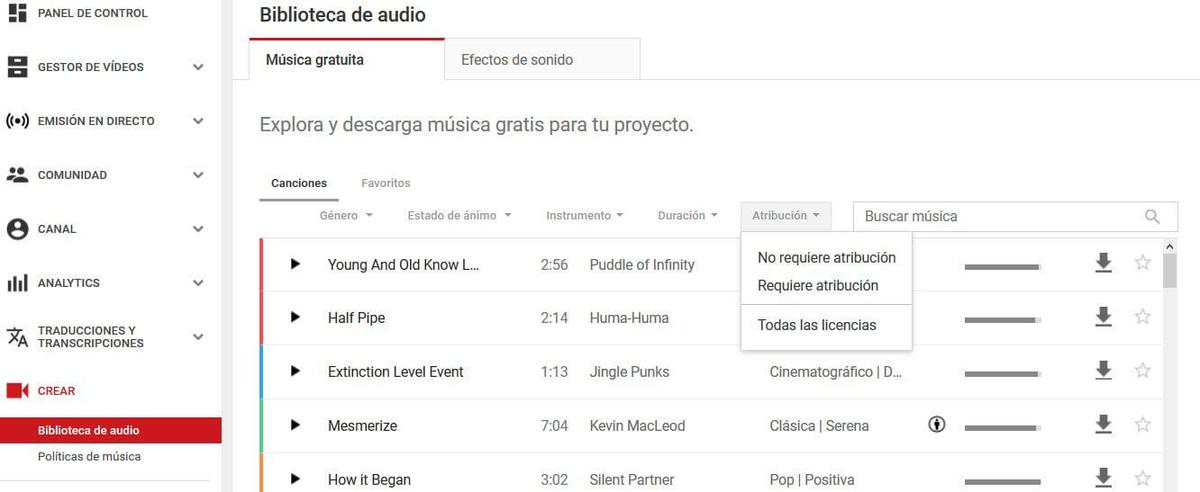 biblioteca de audio de youtube
