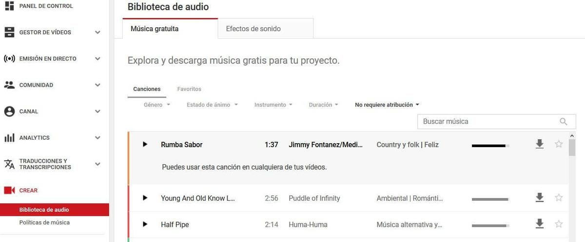 musica sin copiright y sin atribucion youtube