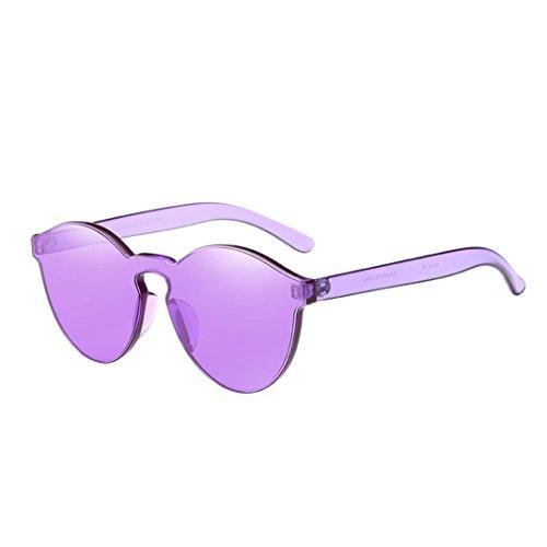 Letdown Women Integrated UV Candy Colored Sunglasses (Purple)