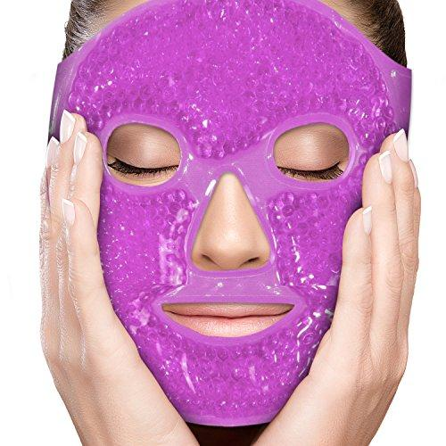 Face Eye Mask Gel Cold Pack Reduce Puffiness, Bags Under Eyes, Puffy Dark Circles, Migraine - Therapeutic Heat and Ice Compress With Cover - For Sleep, Sinus Pressure, Headaches, Skin Care - Purple