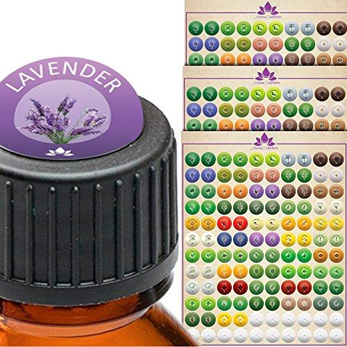 Essential Oil Labels - Bottle Cap Stickers Label Set for All Bottles and Rollers with Floral Designs - Best to Help Organize and Find Your Oils Quickly - 3 Designer Sheets Included.