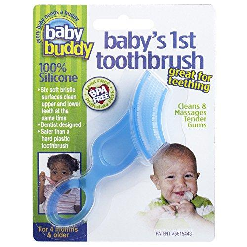 Baby Buddy Babys 1st Toothbrush Teether—Innovative 6-Stage Oral Care System Grows With Your Child—Stage 4 for Babies/Toddlers—Kids Love Them, Blue