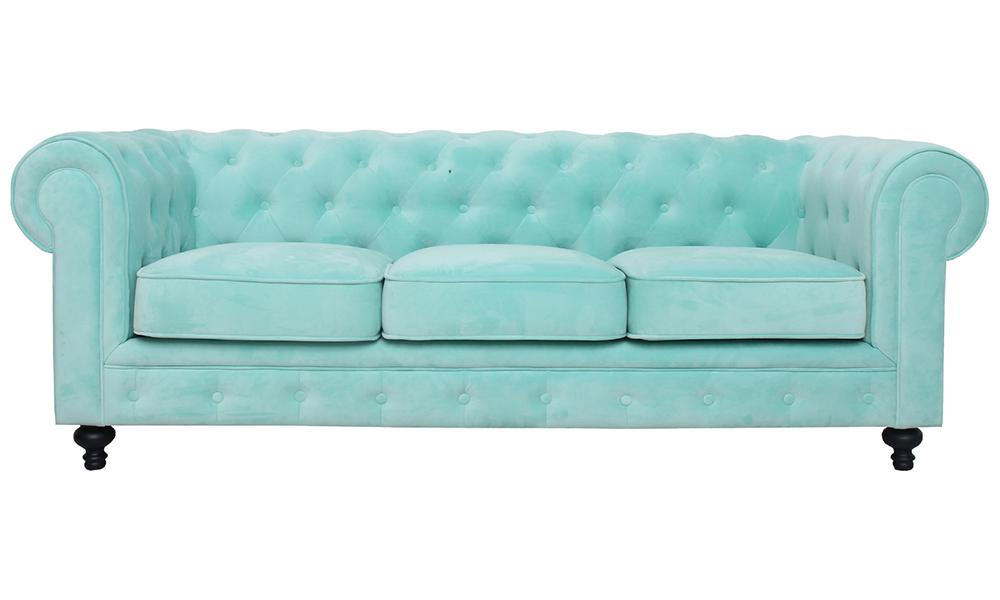 Sofá chesterfield LEWIS Conforama para dar color al salón
