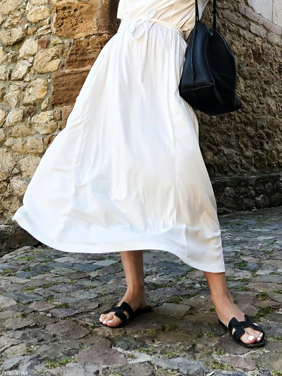 Trini | Lemaire cotton dress Hermes Oran sandals