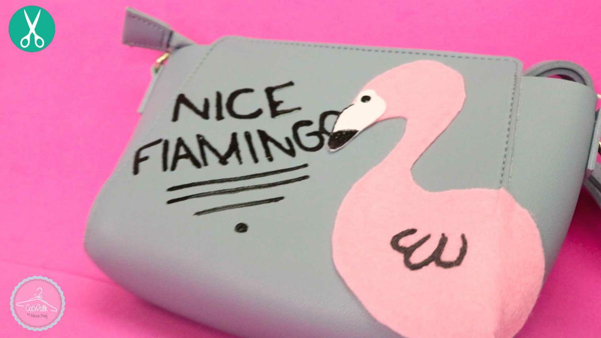 Bolso decorado con forma de flamingo DIY