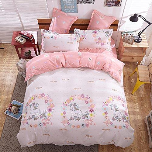 "Girls Magic Unicorn Bed Set by KMZ [4pcs Twin size bedding 59""x79""- Flat sheet,duvet cover,2 pillow cases.No Comforter] pink princess worthy theme, Quality Microfiber,Soft,No chemicals,100% kids safe"